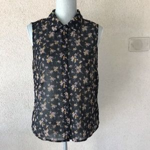 Black and Floral Sleeveless Top Open Back L